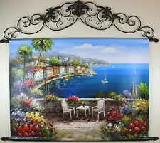 "Mediterranean Coast,  Oil Painting Tapestry with Rods 48x55"" FREE SHIPPING"