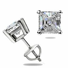 1.55 Ct Asscher Cut Stud Earrings Basket Set Lab Solid 14K White Gold Screw Back