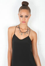 NWT Wildfox Couture Logo Charm Necklace in Hematite & Eggshell