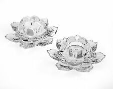Shannon by Godinger Lotus Crystal Votive Pair Candle Holders, Set of 2, New