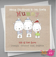 Personalised Christmas Card To Mummy Daddy from the Children,Kids Vintage Cute
