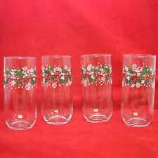 4 Christmas Glass Tumblers Green Red Candy Canes Holly Drinking Glasses Kids