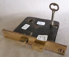 "Antique Mortise Door Bolt Lock w/key Cast Brass Face 5 3/8"" #A (priced per each)"