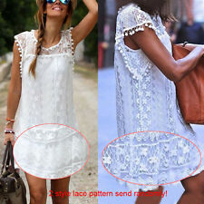 Sexy Women Summer Sleeveless Lace Evening Party Cocktail Short Mini Dress White