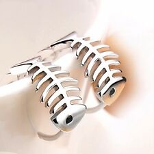 Korean Fashion Jewelry Fishbone 925 Sterling Silver Plated Stud Hoop Earrings
