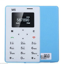 Thin Bar Mini Pocket Mobile Cell Phone Card AIEK M5 Alarm Clock 128M GSM Blue
