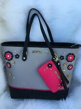 Betsey Johnson Be Mine large bag tote gray 3D flower satchel black shoulder