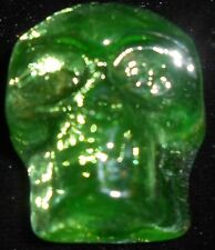 Green Vaseline art glass Gothic skull head uranium figurine / canary yellow neon