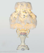European Style E27 Width 30CM Height 50CM Resin+Fabric Bedroom Table Lamp #A