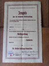 Zeugnis 1938 Handwerkskammer Liegnitz Tischler Meisterprüfung Schlesien