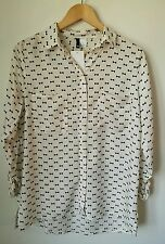 H&m bows printed shirt with long sleeves UK size 14eur 40