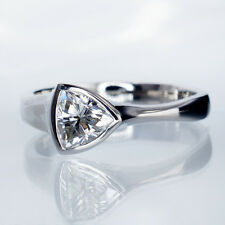 1.00ct Trillion Cut Solitaire Diamond Engagement Ring 14k White Gold Fancy Ring