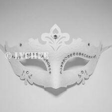 White Plastic Italy Venetian Mask Masquerade Diamante Halloween Bling Costume