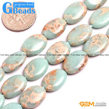 "Colorful Sea Sediment Jasper Gemstone Oval Flat Beads For Jewelry Making 15"" GB"