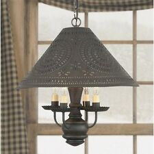 Homespun Colonial Shade Light in Black | Country Kitchen Hanging Chandelier