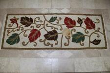 AUTUMN HILL BEADED LEAVES TABLE RUNNER(s) 13x36 -CREAM/RED/GREEN/RUST/GOLD/BROWN