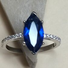 Marquise 2ct Blue & White Sapphire 925 Solid Sterling Silver Solitaire Ring sz 6
