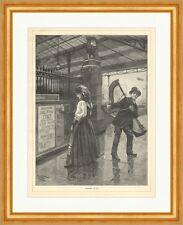 Heimweh Harfe Geige Musiker Bahnhof Instrumente Schilder Trauer Holzstich E 9244