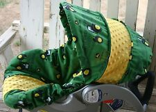 green john deere and yellow minky infant car seat cover and hood cover