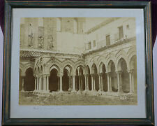 Antique PHOTO PRINT Cloister of the Abbey of Monreale, Sicily, Italy