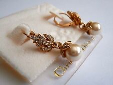 Christian Dior Earrings Gold Plated Lever Back Set with Crystals & Pearl New