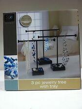 Sarah Peyton 3 Piece Jewelry Necklace Bracelet Watch Displace Tree w/ Tray BLACK