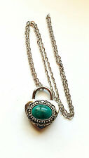 SHD EASTER Turquoise Teal Love Heart Lock Padlock Necklace Permanent Collar BDSM