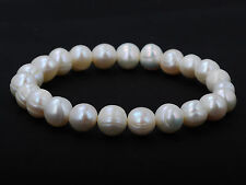 Nice Natural Freshwater Pearl Bracelet Pure White Stretch Bridal Bangle Wedding