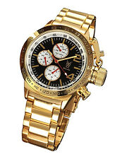 Mens Gold Oversized Watch Multifunction Big Black Dial Metal Bracelet Large Face
