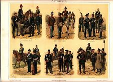1895 ARTILLERY UNIFORMS HUNGARY ITALY GERMANY FRANCE R Antique Lithograph Print