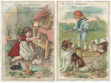 Two Large 1890s Trade Cards White Sewing Machine Co of Children Playing