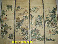 Chinese painting scroll people and landscape Zhang Daqian 4 scrolls