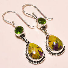 "STICHTITE , FACETED PERIDOT  925 STERLING SILVER EARRINGS 1.75""'"