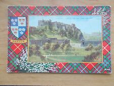VINTAGE POSTCARD - FRASER CLAN TARTAN - WITH PICTURE OF EDINBURGH CASTLE