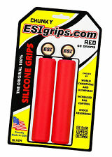 ESI CHUNKY RED Mountain Bike Grips 100% Silicone Shock Absorbing 130mm 60g 32mm