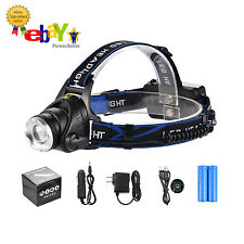 Ultra Bright LED Headlight Head Light Lamp Zoomable 3 Modes 3 x Batttery Charger