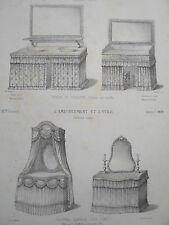 Tables de Toilette en étoffe et  garnies pour DAMES GRAVURE AMEUBLEMENT XIXéme