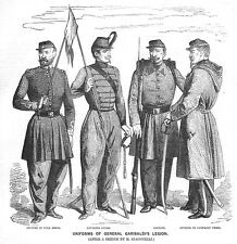ITALY Uniforms of General Garibaldi's Legion - Antique Print 1859