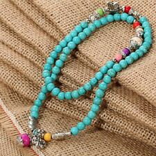 Turquoise Beads String Tibet Sliver Colorful Beads Pendant Necklace/Bracelets