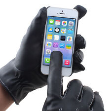 Men Driving Motorcycle Winter Leather Full Finger Touch Screen Warm Gloves Black