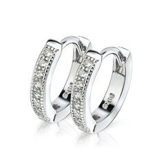 Bling Hoop Huggie Clip-on Hook Earring-925 Sterling Silver Crystal CZ Rhinestone