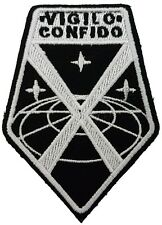 XCOM Vigilo Confido Logo White & Black Embroidered Patch Sew/Iron-on 3.5 inches