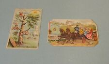 Domestic Sewing Machine 2 Victorian Trade Card Lot Horses Pointy Hair Children