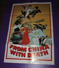 FROM CHINA WITH DEATH MOVIE POSTER ORIGINAL ONE SHEET MARTIAL ARTS