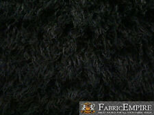 "Faux Fur Long Pile Curly Fabric ALPACA BLACK / 60"" Wide / Sold by the Yard"
