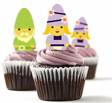 ✿ 24 Edible Rice Paper Cup Cake Toppings, Cake decs - Gnomes ✿