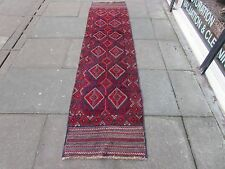 Old Hand Made Afghan Tribal Mushvani Oriental Red Wool Narrow Runner 273x70cm