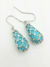 14k White Gold Diamond Cut Turquoise Tear Drop Earrings VERY UNIQUE!!