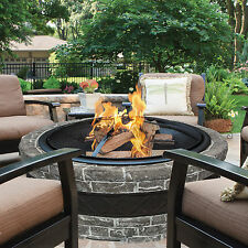 Outdoor Stone Fire Pit Wood Burning Fireplace Bowl Backyard Deck Patio Heater