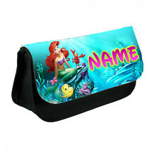 Disney Princess Ariel Personalised Name Black Canvas Pencil Case, Make-Up Bag